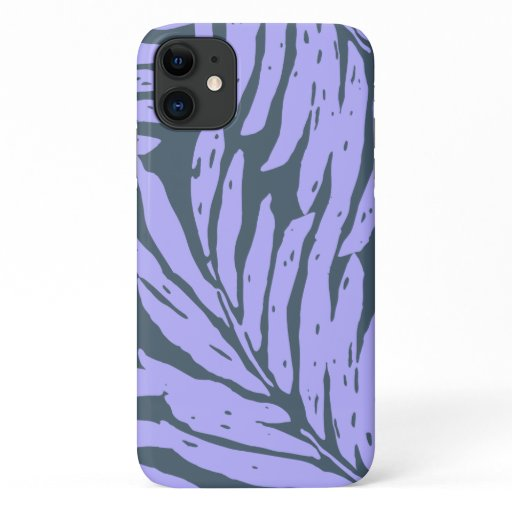 Kahanu Garden Hawaiian Palm Leaves Purple iPhone 11 Case