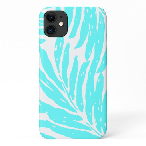 Kahanu Garden Hawaiian Palm Leaves Turq iPhone 11 Case