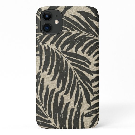 Kahanu Palms Hawaiian Faux Linen Texture Black iPhone 11 Case
