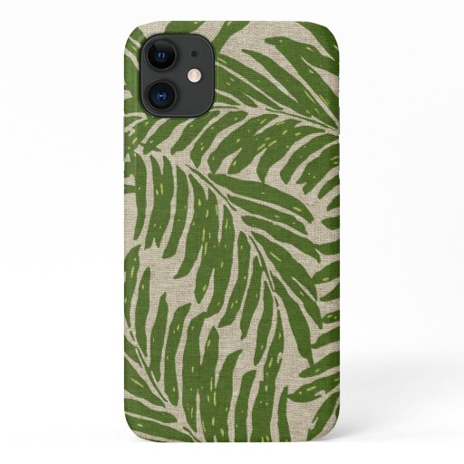 Kahanu Palms Hawaiian Faux Linen Texture Green iPhone 11 Case