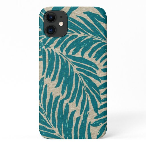 Kahanu Palms Hawaiian Faux Linen Texture Teal iPhone 11 Case