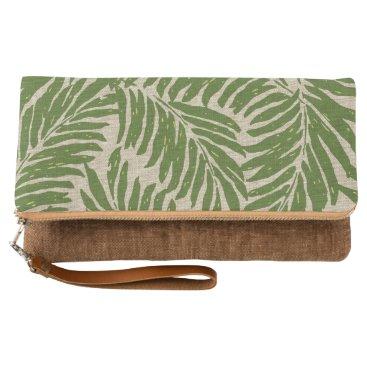 Beach Themed Kahanu Palms Hawaiian Linen Texture Clutch