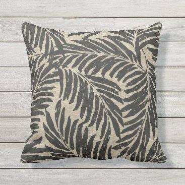 Beach Themed Kahanu Palms Hawaiian Linen Texture Outdoor Pillow