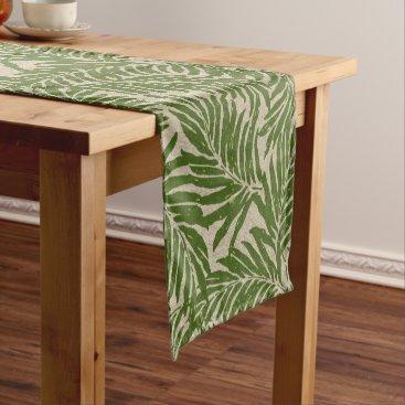 Beach Themed Kahanu Palms Hawaiian Linen Texture Short Table Runner