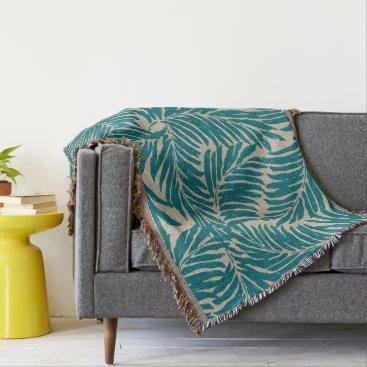 Beach Themed Kahanu Palms Hawaiian Linen Texture Throw Blanket