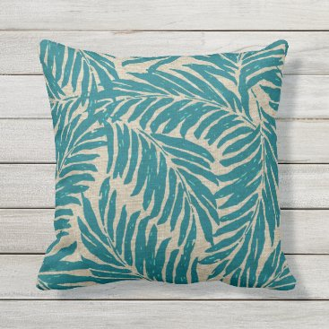 Beach Themed Kahanu Palms Hawaiian Linen Texture Throw Pillow