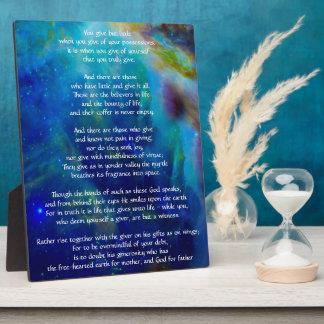 Kahlil Gibran on Giving Plaque