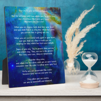 Kahlil Gibran on Joy and Sorrow Plaque
