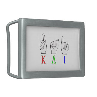 KAI ASL FINGERSPELLED HEBILLAS CINTURÓN RECTANGULARES