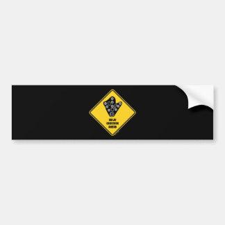 Kaiju Crossing Ahead Yellow Diamond Warning Sign Bumper Sticker
