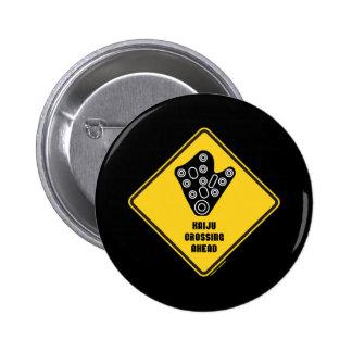 Kaiju Crossing Ahead Yellow Diamond Warning Sign Pinback Buttons
