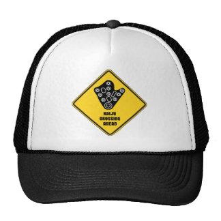Kaiju Crossing Ahead Yellow Diamond Warning Sign Trucker Hat