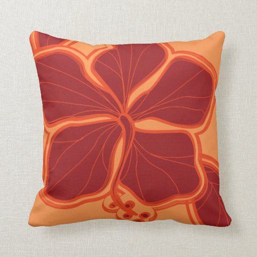 Kailua Hibiscus Hawaiian Reversible Square Pillow
