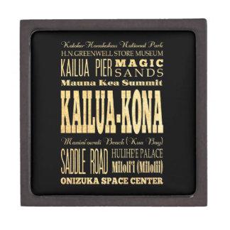 Kailua Kona City of Hawaii Typography Art Keepsake Box