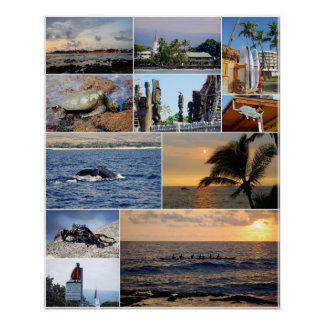 Kailua Kona Hawaii Collage 16 X 20 Poster