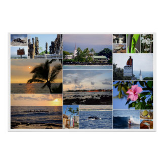 Kailua-Kona Hawaii Collage 36 x 24 Poster