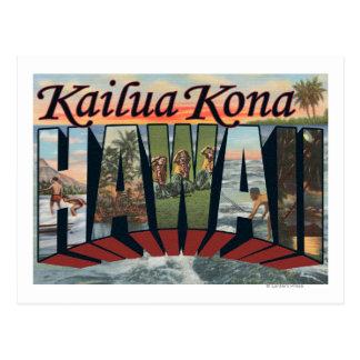 Kailua Kona, Hawaii - escenas grandes de la letra Tarjeta Postal