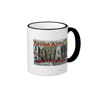 Kailua Kona, Hawaii - Large Letter Scenes Ringer Coffee Mug