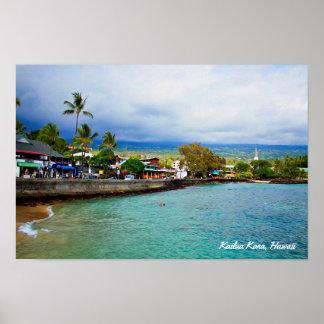 Kailua Kona, Hawaii • Oil Paint Digital Art Poster