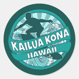Kailua Kona Hawaii teal surfer logo stickers