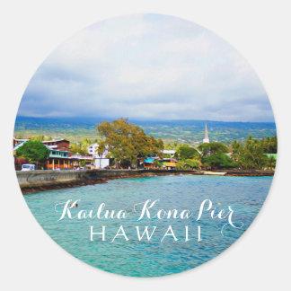 Kailua Kona Pier Hawaii Oil Paint Digital Art Classic Round Sticker