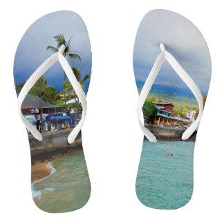 Kailua Kona Pier Hawaii Oil Paint Digital Art Flip Flops