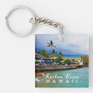 Kailua Kona Pier Hawaii Oil Paint Digital Art Keychain