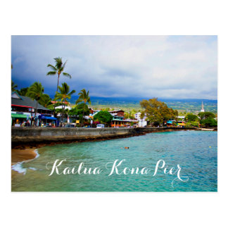 Kailua Kona Pier Hawaii Oil Paint Digital Art Postcard