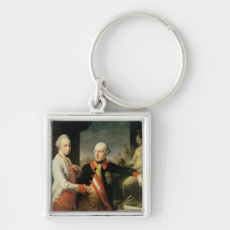 Kaiser Joseph II Silver-Colored Square Keychain