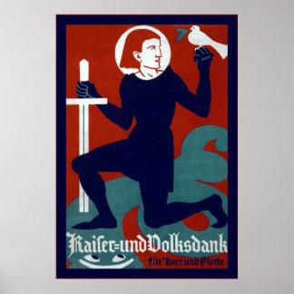 Kaiser und Volksdank  ~ Vintage German WW1 Poster