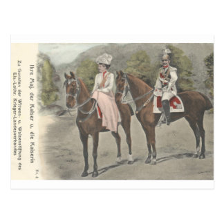 Kaiser Wilhelm II & empress on horses #037SS Postcard