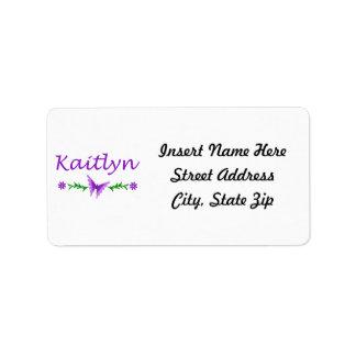 Kaitlyn (Purple Butterfly) Label