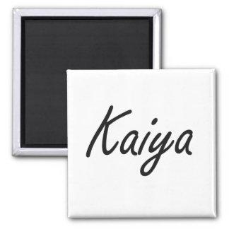Kaiya artistic Name Design 2 Inch Square Magnet
