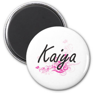 Kaiya Artistic Name Design with Flowers 2 Inch Round Magnet