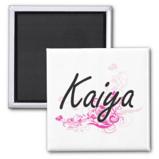 Kaiya Artistic Name Design with Flowers 2 Inch Square Magnet