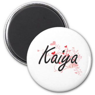 Kaiya Artistic Name Design with Hearts 2 Inch Round Magnet