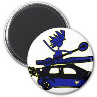 Kajak, bici, coche en azul imán de nevera