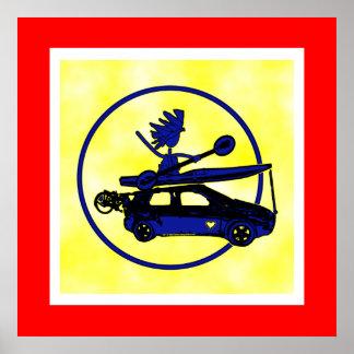Kajak, bici, coche en azul poster