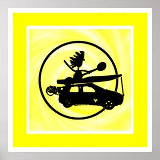 Kajak, bici, coche en azul póster