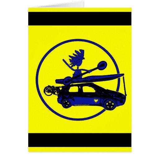 Kajak, bici, coche en azul tarjeta de felicitación