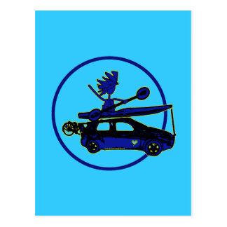 Kajak, bici, coche en azul postales