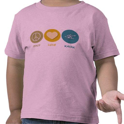 Kajak del amor de la paz camiseta