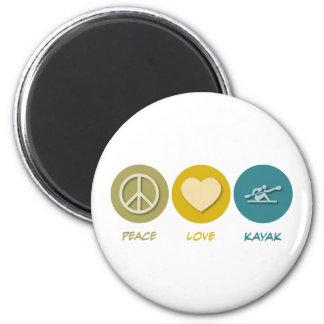 Kajak del amor de la paz imán redondo 5 cm