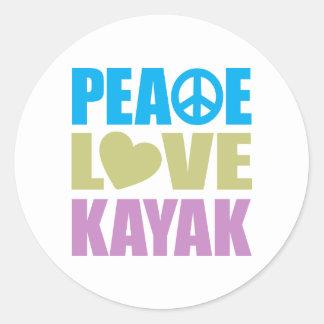 Kajak del amor de la paz pegatinas redondas
