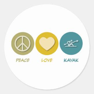 Kajak del amor de la paz pegatina redonda
