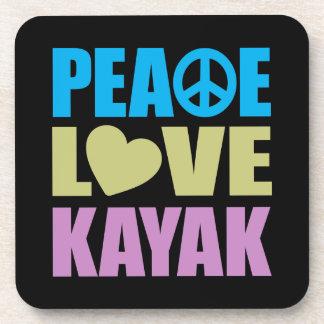 Kajak del amor de la paz posavaso