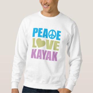 Kajak del amor de la paz sudaderas