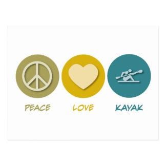 Kajak del amor de la paz tarjeta postal
