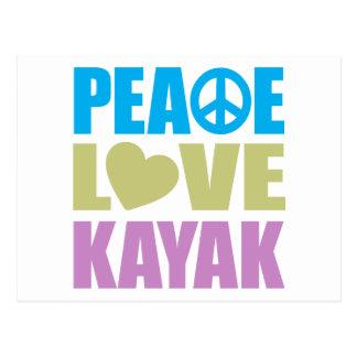 Kajak del amor de la paz tarjetas postales