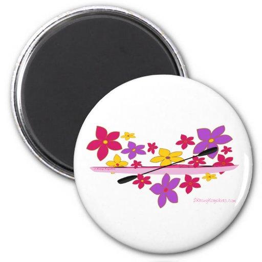 Kajak del flower power imán redondo 5 cm